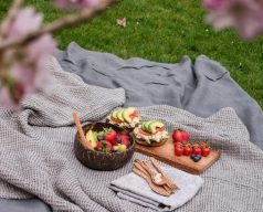 Picnic food on a picnic rug